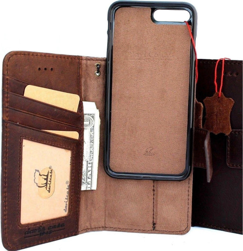 Genuine leather Case for iPhone 8 Plus book wallet cover detachabl magnetic holder vintage Removable style Jafo 1948 prime