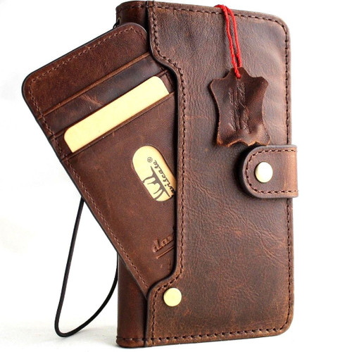 Genuine leather Case for iPhone xs vintage cover credit cards wireless charge slots luxury dark Daviscase Jafo uk