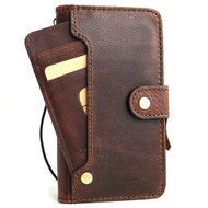 Genuine leather Case for iPhone x vintage cover credit cards wireless  closure slots luxury dark Daviscase