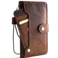 Genuine leather Case for iPhone 8 plus vintage cover credit cards wireless charge  slots luxury dark Daviscase prime