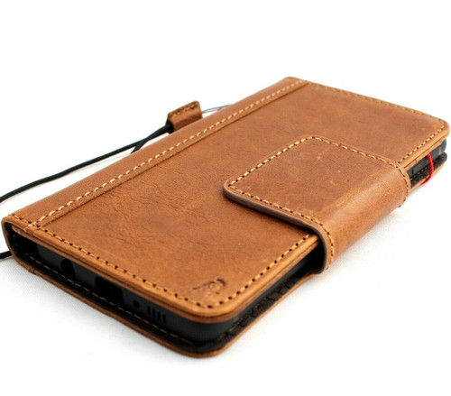 Genuine real leather Case for Samsung Galaxy S10 Plus wireless charging rubber holder vintage book wallet handmade daviscase S 10 Tan de