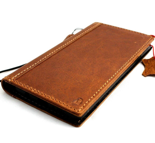 Genuine real leather Case for Samsung Galaxy S10 Plus wireless charging holder vintage book wallet handmade daviscase s 10 Tan uk