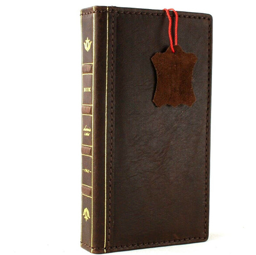 Genuine real leather Case for Samsung Galaxy S10 wireless charging holder vintage book wallet handmade daviscase s 10 dark