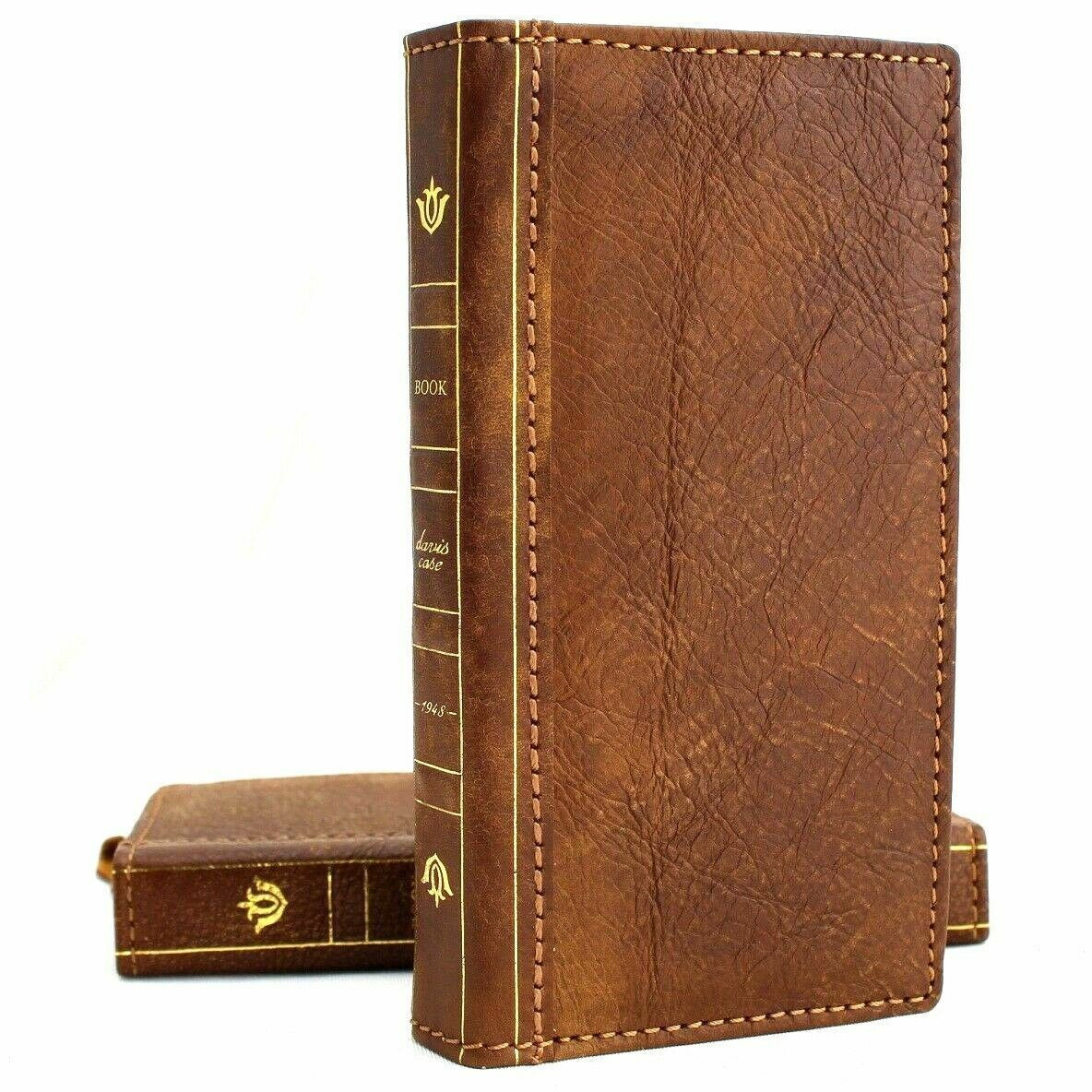 huge discount 75ee1 463f1 Genuine real leather Case for Samsung Galaxy S10 wireless charging holder  vintage book wallet handmade Tan daviscase s 10 luxury bible Jafo
