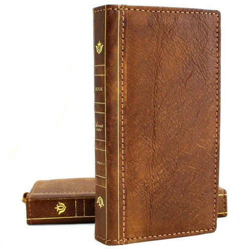 Genuine real leather Case for Samsung Galaxy S10 wireless charging holder vintage book wallet handmade Tan daviscase s 10 luxury bible Jafo  pro