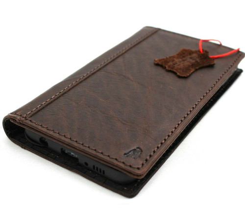 Genuine real leather Case for Samsung Galaxy S10 wireless charging holder vintage book wallet handmade daviscase s 10 luxury dark Jafo pro