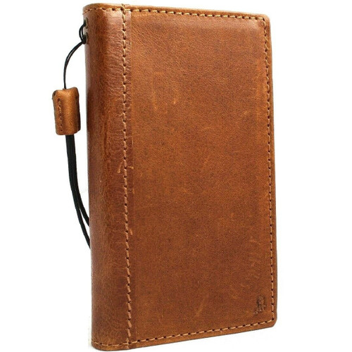 Genuine real leather Case for Samsung Galaxy S10 wireless charging holder vintage book wallet handmade daviscase s 10 luxury Tan Art