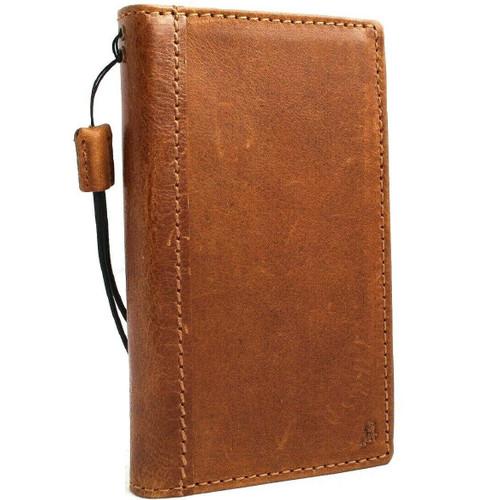 Genuine real leather Case for Samsung Galaxy S10 lite wireless charging holder vintage book wallet handmade daviscase s 10 luxury Tan Art