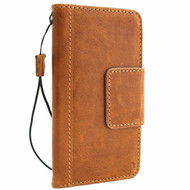 Genuine real leather Case for Samsung Galaxy S10e wireless charging holder vintage book wallet handmade daviscase s closure Tan Jafo