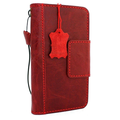 Product - Genuine real leather Case for Samsung Galaxy S10 Plus wireless charging rubber holder vintage book wallet handmade daviscase S 10 Red wine  prime