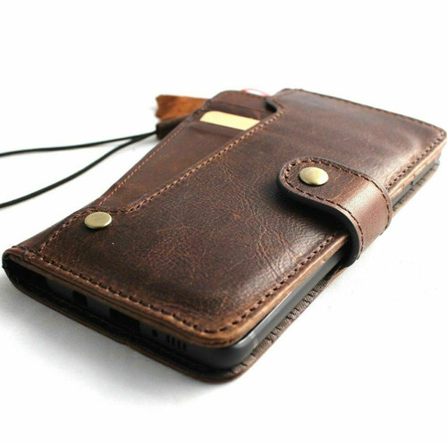 Genuine natural leather case for samsung galaxy s8 plus book wallet luxury closure cover cards slots brown Daviscase safe strap wireless charge  IL