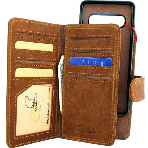 Genuine real leather Case for Samsung Galaxy S10 wireless charging holder vintage book wallet handmade daviscase s 10 luxury magnetic Tan Jafo Art top 10