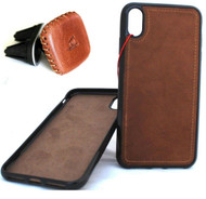 Genuine real Leather Case For Apple Iphone XR Handmade Cover  + Magnetic Car Holder