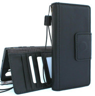 Genuine real Leather Case for Samsung Galaxy Note 10 Plus flip rubber strap Handmade Wallet  luxury stand Window  Black