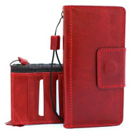 Genuine real Leather Case for Samsung Galaxy Note 10 Plus flip magnetic rubber strap Handmade Wallet  stand Window  Red