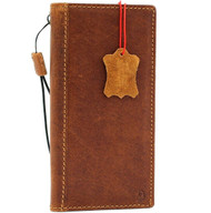 Genuine  real Leather Case for Samsung Galaxy Note 10 Plus Handmade window Cover book Wallet  strap luxury tan