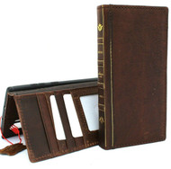 Genuine full leather case fit Samsung Galaxy Note 10 plus book bible wallet handmade cover slim  vintage luxury brown cards slots rubber Window