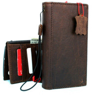 Genuine full leather case for Samsung Galaxy Note 10 book wallet handmade cover soft  luxury brown cards strap slots rubber Window