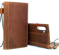 Genuine  leather case for Samsung Galaxy Note 10 book wallet handmade cover retro luxury brown cards slots strap rubber tan stand