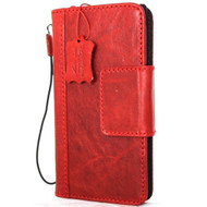 Genuine  full leather for Samsung Galaxy Note 9 Case book wallet rubber natural magnetic  cover Daviscase luxury  Red strap