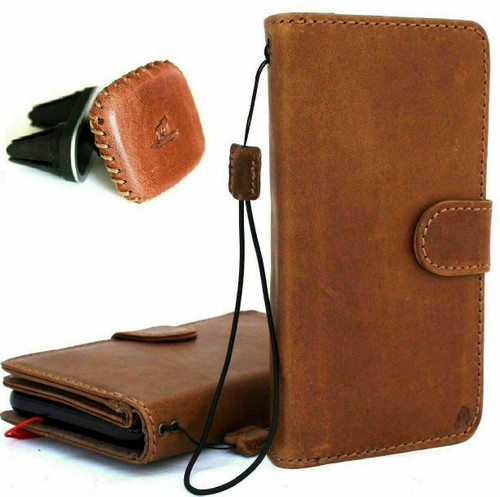 Genuine real Leather Case for Samsung Galaxy Note 10 Plus flip rubber strap Handmade Wallet luxury stand Window Removable Davis