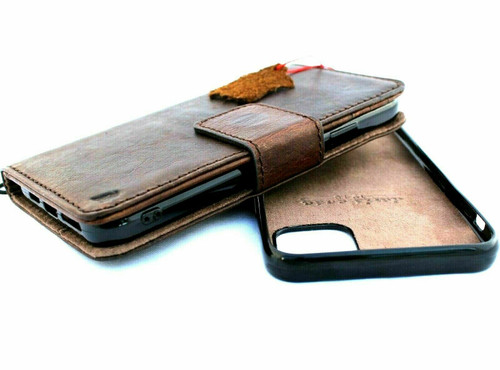 Genuine leather Case for iPhone 11 pro vintage cover credit cards Removable detachable magnetic slots luxury dark Daviscase Jafo
