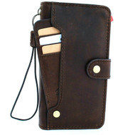 Genuine real luxury oiled leather Case for iPhone 11 Pro vintage cover credit cards slots luxury holder rubber Daviscase flip ID Handmade