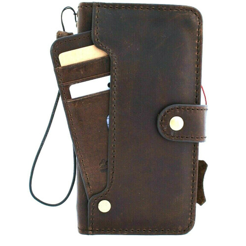 Genuine real luxury leather Case for iPhone 11 vintage cover credit cards slots luxury holder rubber Daviscase flip ID Handmade