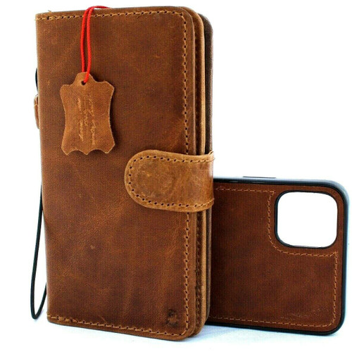 Genuine Full leather Case for iPhone 11 Pro Max vintage cover credit cards Removable detachable magnetic slots luxury holder rubber Daviscase flip