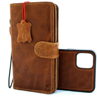 Genuine Leather Case for iPhone 11 Pro Vintage Cover Credit Cards Removable Detachable Magnetic Slots Luxury Tan Daviscase Jafo