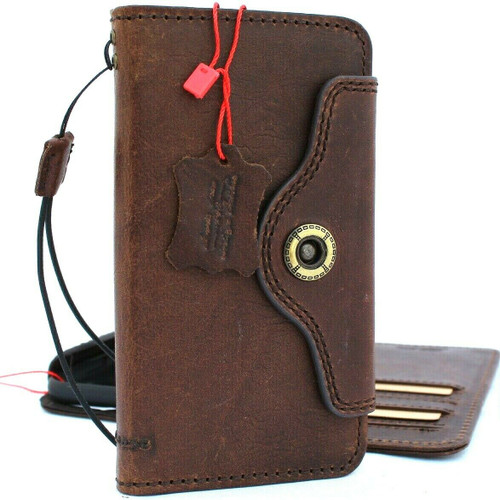 Genuine real leather Case for iPhone 11 Pro Max vintage cover credit cards slots luxury holder rubber Daviscase flip ID Handmade Dark brown