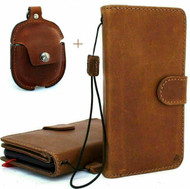 Genuine Leather Case for iPhone 11 Pro retro Cover Credit Cards Removable Detachable Magnetic flip soft Tan   + Airpods 2