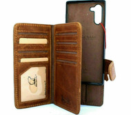 Genuine Real leather Case for samsung Galaxy note 10 handmade cover wallet book retro rubber flip luxury strap cards id Removable Rubber holder magnetic ID