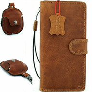 Genuine real leather Case for samsung Galaxy note 10 handmade cover wallet book retro rubber flip luxury cards Tan Removable + Airpods 2