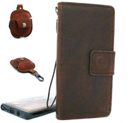 Genuine retro leather case for samsung galaxy note 10 plus detachable book wallet cover soft holder Removable cards slots rubber + Airpods 2