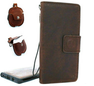 Genuine real leather Case for samsung Galaxy note 10 handmade cover wallet book vintage rubber flip luxury stand cards Removable + Airpods 2