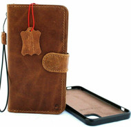 Genuine real  Leather Case For IPhone 11 Cover Credit Cards Removable Detachable Book Magnetic Slots Luxury Holder Rubber tan stand