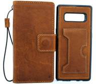 Genuine leather case for samsung galaxy note 8 book wallet detachable cover soft stand holder tan handmade cards slots slim daviscase wireless charging ID