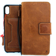 Genuine Tanned Real leather Case for iPhone XS MAX vintage cover credit cards Removable detachable  slots luxury lite soft Daviscase 10 Top Jafo Wireless Charging