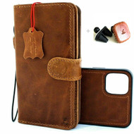 Genuine Full  Leather Case For iPhone 11 Cover Credit Cards Removable Detachable Book Magnetic Slots Luxury Holder Rubber Tanned  + Magnetic Car Holder DavisCase
