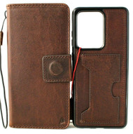 Genuine Vintage Leather Case for Galaxy S20 Ultra Wallet Removable Cover Wireless Charging DAVIS
