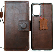Genuine Natural Vintage Leather Case for Galaxy S20 Plus book Wallet Handmade Luxury Soft Jafo