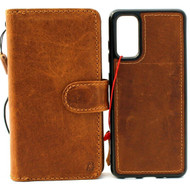 Genuine Tanned Leather Case for Samsung Galaxy S20 wallet book magnetic Removable