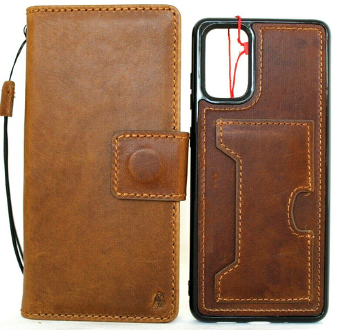 Genuine Vintage Leather Case for Galaxy S20 PLUS Soft Wallet Handmade Tan Wireless DAVIS Luxury