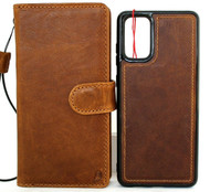 Copy of Genuine Natural Vintage Leather Case for Galaxy S20 Plus book Wallet Handmade Luxury Soft Jafo DE