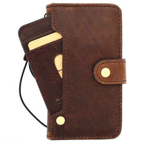 Genuine vintage leather case for iphone se2 2020 cover book wallet credit card luxurey flip slim 7 wireless charging art