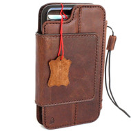 Genuine Leather Case for iPhone SE 2 Book Wallet Magnetic Cover Brown Card Slots