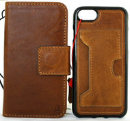 Genuine Full Tanned Leather Case for iPhone SE 2 (2020) book Wallet Cover Detachable Wireless Charging Davis