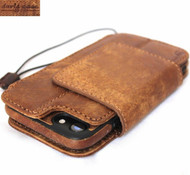 Genuine Natural Soft Leather Case for iPhone SE 2 (2020) Wallet Book Cover Magnetic Detachable Removable Jafo