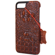 Genuine Natural Leather Case for Apple iPhone SE 2 Cover Brown Crocodile Design Davis